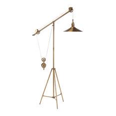 John-Richard Graham Industrial Loft Vintage Brass Pulley Floor Lamp