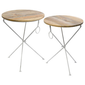 Wood and Iron Round End Tables, Set of 2