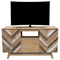 Recycled Teak Wood Brux Art Deco Dresser / Media Center, 59 Inch