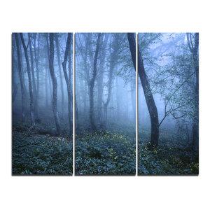 """Trail Through Blue Fall Forest"" Photo Wall Art, 3 Panels, 36""x28"""