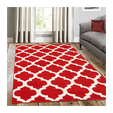 Trendy Red No Border Rectangle Plain/Nearly Plain Rug 80x150cm