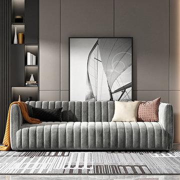 Modern Grey Flannelette Vertical Streaks 3 Seater Sofa