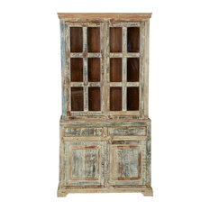 White Washed Reclaimed Wood Breakfront Buffet With Hutch