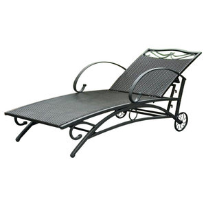 Pemberly Row Patio Chaise Lounge in Antique Black