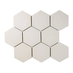 "10""x11.38"" Manhattan Super Hex Unglazed Porcelain Mosaic Tile, Antique White"