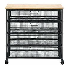 Uma Enterprises   Industrial Metal And Wood Storage Cart, Multi Color   Storage  Cabinets