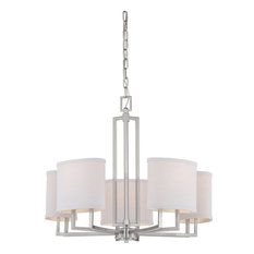 Gemini 5 Light - Chandelier With Slate Gray Fabric Shades
