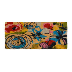 """Watercolor Floral Doormat, Multi, Extra Thick Handwoven, Durable, 24""""x57"""""""