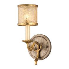 Parc Royale 1 Light Bathroom Vanity Light in Gold And Silver Leaf