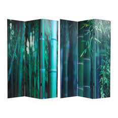 6' Tall Double Sided Bamboo Tree Canvas Room Divider