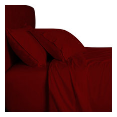 Bamboo 1000 Thread Count Solid Bed Sheet Set, Burgundy, Queen