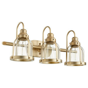 "Quorum 3-Light 25"" Aged Brass Wall Vanity Light"