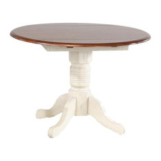 "A-America British Isles 42"" Round Drop-Leaf Dining Table, Merlot-Buttermilk"