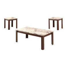 48-inchx24-inchx18-inch 3-Piece Marble And Cherry Coffee And End Table Set