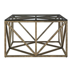 Zin Home   French Industrial Bronze Metal U0026 Glass Top Square Coffee Table   Coffee  Tables