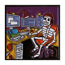 """6""""x6"""" Computer Geek Day of the Dead Clay Tile"""
