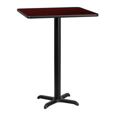 Bowery Hill 30-inch Square Restarant Bar Table In Black And Mahogany