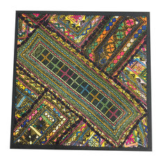 "Mogul Interior - Indian Patchwork Banjara Sequin Work Multicolor Pillow Sham, 18""x18"" - Pillowcases And Shams"