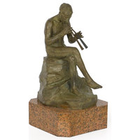 """Consigned  """"Seated Pan"""" Bronze Sculpture by Giacomo Scarantino"""