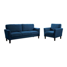 Victoria  Navy Blue Fabric Sofa And Armchair Set