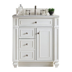 "Bristol 30"" Single Vanity Cottage White Married Top, Snow White Quartz"