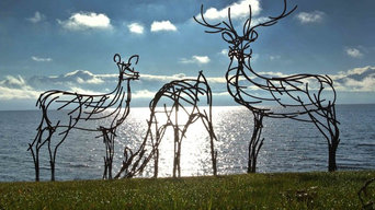Stag Hind and Doe on shores of Lake Geneva, Switzerland
