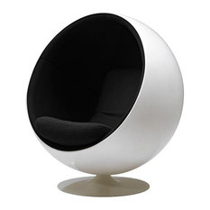 Modern Ball Chair, Eero Aarnio Globe Chair, White Shell/Black Fabric