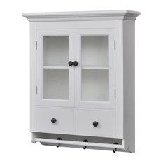 vidaXL - VidaXL White Wooden Kitchen Wall Cabinet With Glass Door - Kitchen Cabinets