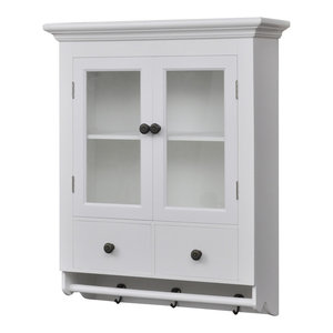 VidaXL White Wooden Kitchen Wall Cabinet With Glass Door