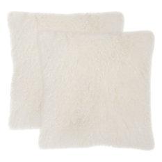 Natural Sheepskin Pillows, Set of 2, White, Down Feather Filler
