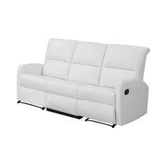 Reclining Sofa, Bonded Leather, White