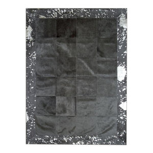 Patchwork Leather Cubed Cowhide Rug, Black With Acid Silver Border, 200x300 cm