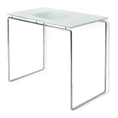 "Waterworks Formwork Single Washstand 42"" x 25"" x 34"", Stainless Steel, Glass"