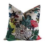 "Chiang Mai Dragon Pillow Cover, Floral With Tall Lantern, 20""x20"""
