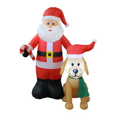 Christmas Inflatable Santa With Candy Cane and Dog With Christmas Hat, 5'