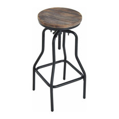Industrial Bar Stool, Black Metal Frame and Wooden Top, Adjustable Height