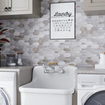 Modern Farmhouse Laundry Room With Elongated Hexagon Mosaic Backsplash