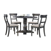 Selena Round Transitional 5-Piece Dinette Set, Weathered Gray