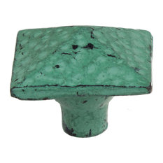 "1-1/2"" Distressed Square Pyramid Turquoise Cabinet Knobs"
