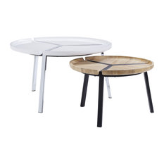 ACME Casia 2Pc Pk Nesting Table Set, White and Natural