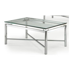 Lovely Steve Silver Company   Nova Cocktail Table W Beveled Tempered Glass Top In  Chrome   Coffee
