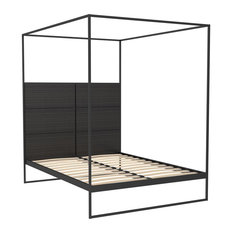 Federico King Canopy Bed, Black Stained Oak, Black Base