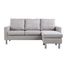 Divano Roma Furniture   Modern Small Space Reversible Linen Fabric Sectional  Sofa, Beige   Sectional
