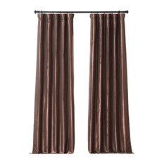"Copper Brown Faux Silk Taffeta Curtain Single Panel, 50""x108"""