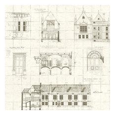 Estcourt Brown Blueprint Wallpaper Bolt