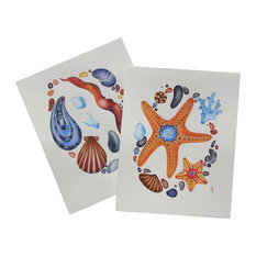 """2-Piece Original  """"Sea Shell and  Sea Star"""" Watercolor Paintings by Olena Baca"""