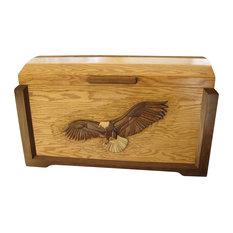 Eagle In Flight Framed Blanket Chest, Two-Toned Oak/Walnut Trim