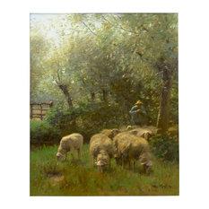 "Consigned ""Shepherd w/ Sheep"" Barbizon Painting by Francois Ter Meulen"