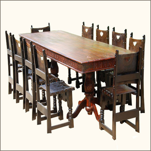 Nottingham 11 Pc Oak Dining Room Chair Table Ensemble