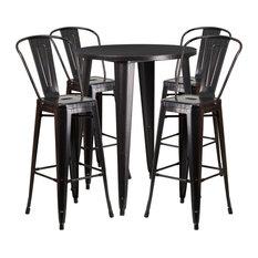 30'' Round Black Antique Gold Metal Indoor Outdoor Bar Table Set, 4
